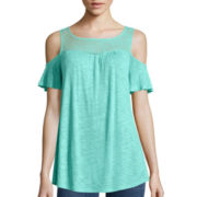a.n.a® Lace-Front Knit Cold-Shoulder Shirt
