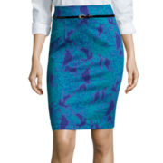 Worthington® Belted High-Waist Sateen Pencil Skirt