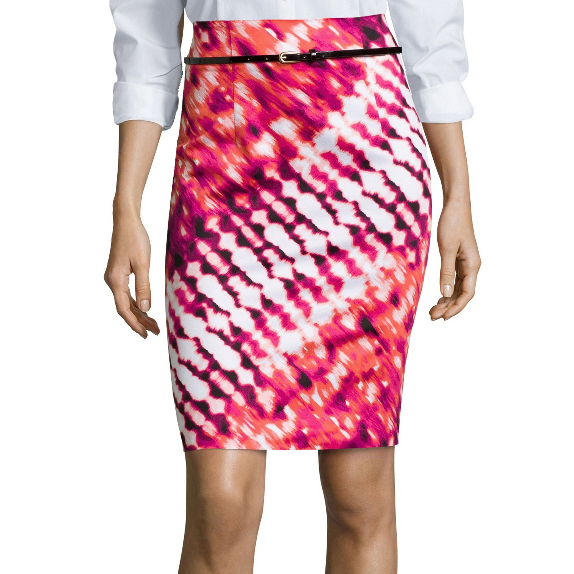 Worthington Belted High-Waist Skirt - Tall plus size,  plus size fashion plus size appare