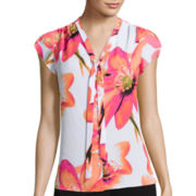 Worthington® Short-Sleeve Tie Neck Blouse