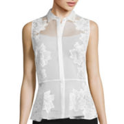 Worthington® Organza Sleeveless Peplum Top - Tall
