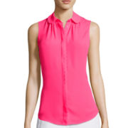 Worthington® Sleeveless Scalloped Placket Button-Front Blouse