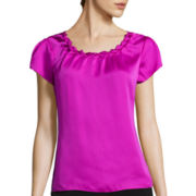 Worthington® Short-Sleeve Twisted Neck Blouse