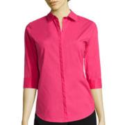 Worthington® 3/4-Sleeve Button-Front Oxford Shirt