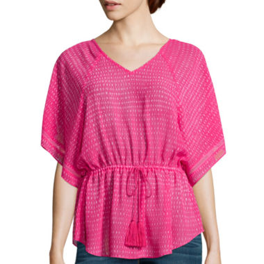 jcpenney.com | a.n.a® Short-Sleeve Cinched Waist Blouse - Tall