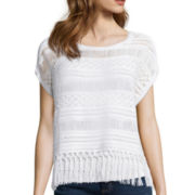a.n.a® Cap-Sleeve Crochet Fringe Sweater