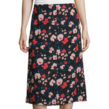 jcpenney.com | Lily Black Button-Front Midi Skirt