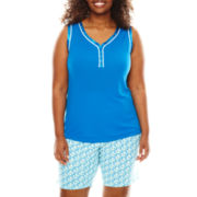 Liz Claiborne® Sleeveless Top and Bermuda Shorts Pajama Set - Plus