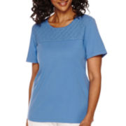 Alfred Dunner® Short-Sleeve Lace Yoke Top