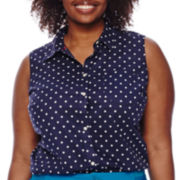 St. John's Bay® Sleeveless Button-Front Shirt - Plus