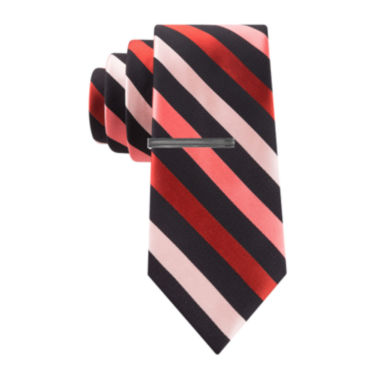 jcpenney.com | JF J. Ferrar® Patterson Striped Tie and Tie Bar Set - Slim