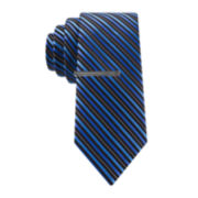 JF J. Ferrar® Huck Striped Tie and Tie Bar Set - Slim