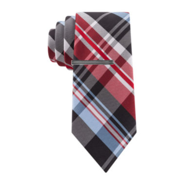 jcpenney.com | JF J. Ferrar® Parker Plaid Tie and Tie Bar Set - Slim