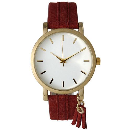 Olivia Pratt Tassle Charm Womens Red Strap Watch-15984
