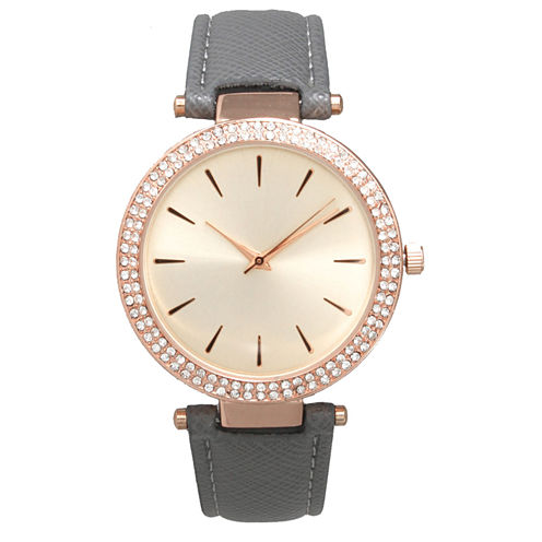 Olivia Pratt Womens Gray Strap Watch-16257