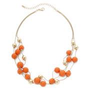 Mixit™ Orange Stone 3-Row Illusion Necklace