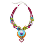 Aris by Treska Multicolor Bead and Shell 3-Row Pendant Necklace