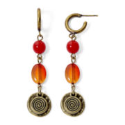 Aris by Treska Red Bead Drop Earrings