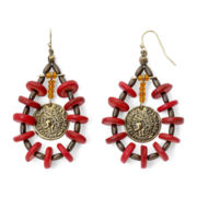 Aris by Treska Coin Drop and Red Bead Earrings