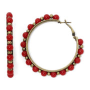 Aris by Treska Red Bead Hoop Earrings