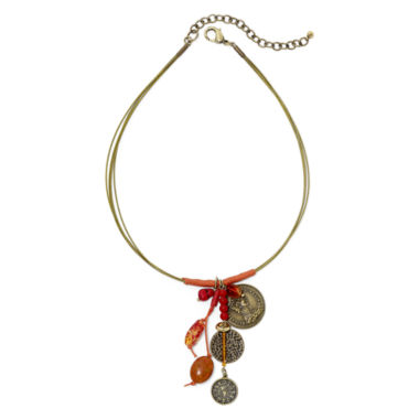 jcpenney.com | Aris by Treska Coin Drop and Red Bead Coil Necklace