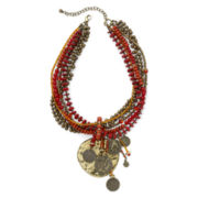 Aris by Treska Coin Drop and Red Bead Statement Pendant Necklace