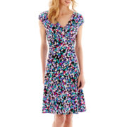 Black Label by Evan-Picone Sleeveless Print Fit-and-Flare Dress