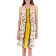 Renn® Sleeveless Scarf Print Fit-and-Flare Dress