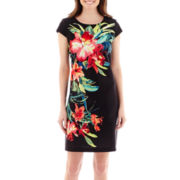 J. Taylor Cap-Sleeve Tropical Print Scuba Sheath Dress