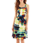 Worthington® Sleeveless Print Fit-and-Flare Dress