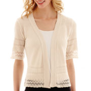 Studio 8 Fashion Corp 3/4-Sleeve Pointelle Shrug Sweater