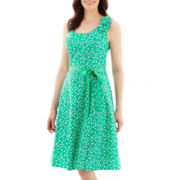 Robbie Bee® Sleeveless Flower-Embellished Fit-and-Flare Dress