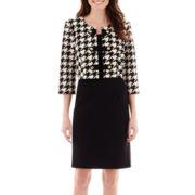 Studio 1® 3/4-Sleeve Houndstooth Jacket Dress