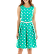R&K Originals® Sleeveless Pleated-Skirt Belted Fit-and-Flare Dress