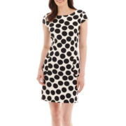 Danny & Nicole® Cap-Sleeve Dot Print Pocket Shift Dress