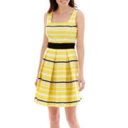 Danny & Nicole® Sleeveless Striped Fit-and-Flare Dress
