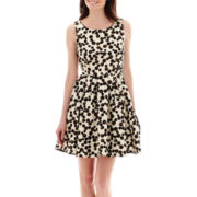 Danny & Nicole® Sleeveless Textured Dot Print Fit-and-Flare Dress