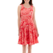 Danny & Nicole® Sleeveless Floral Print Twill Dress