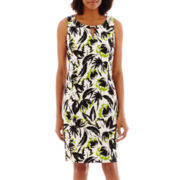 Ronni Nicole Sleeveless Floral Print Twill Sheath Dress