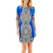 Studio 1® Elbow-Sleeve Paisley Print Dress