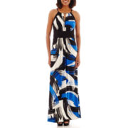 London Style Collection Sleeveless Keyhole Halter Maxi Dress