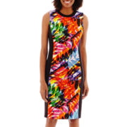 London Style Collection Sleeveless Tropical Print Scuba Sheath Dress