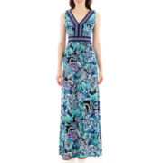 Trulli Sleeveless Print V-Neck Maxi Dress