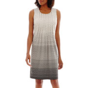 Perceptions Sleeveless Polka-Dot Seamed Shift Dress