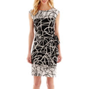 R&K Originals® Cap-Sleeve Wavy Print Side-Tie Dress