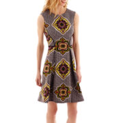Danny & Nicole® Sleeveless Medallion Print Scuba Fit-and-Flare Dress