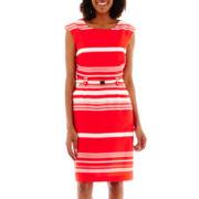 Liz Claiborne® Cap-Sleeve Belted Pocket Sheath Dress