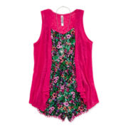 Knit Works 2-pc. Necklace Romper and Vest Set - Girls 7-16