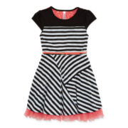 Knit Works Belted Mesh Skater Dress – Girls 7-16