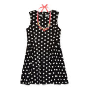 My Michelle® Polka Dot Dress and Necklace - Girls 7-16
